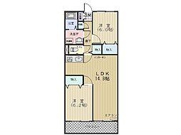 神奈川県横浜市青葉区奈良5丁目の賃貸マンションの間取り