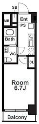 Osaka Metro千日前線 阿波座駅 徒歩1分の賃貸マンション 12階1Kの間取り