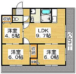 大阪府堺市北区百舌鳥梅北町3丁の賃貸マンションの間取り