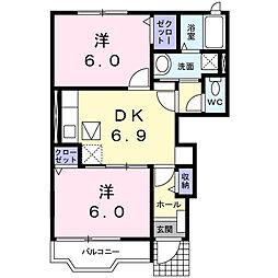 埼玉県春日部市南3丁目の賃貸アパートの間取り