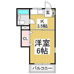 中央マンション[2階]の間取り