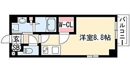 エステムプラザ名古屋丸の内 7階ワンルームの間取り