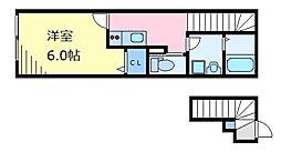 京王井の頭線 三鷹台駅 徒歩7分の賃貸アパート 2階1Kの間取り