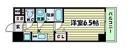 プレサンス京町堀サウス 14階1Kの間取り