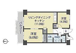 埼玉県草加市谷塚2丁目の賃貸マンションの間取り