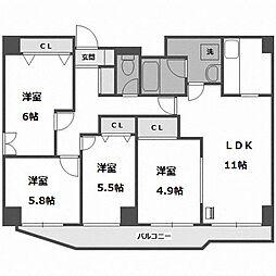 北海道札幌市中央区南十八条西16丁目の賃貸マンションの間取り