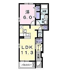 JR東海道・山陽本線 守山駅 バス24分 美崎下車 徒歩1分の賃貸アパート 1階1LDKの間取り