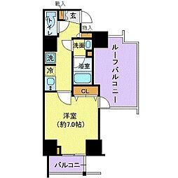 グランヴァン赤坂 9階1Kの間取り