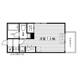 札幌市営南北線 北12条駅 徒歩8分の賃貸マンション 5階ワンルームの間取り