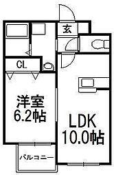 北海道札幌市西区発寒六条9丁目の賃貸マンションの間取り