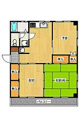 宿郷2田崎コーポ[3B号室]の間取り
