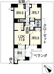 COMERSU V[7階]の間取り