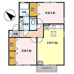 セジュールアンソレイエ B[1階]の間取り