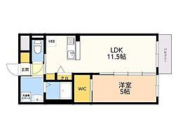 仮)野芥3丁目 新築賃貸マンション 3階1DKの間取り