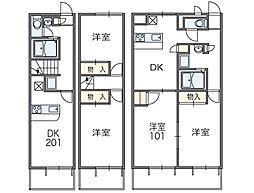 南海線 鳥取ノ荘駅 徒歩11分の賃貸アパート 1階2DKの間取り