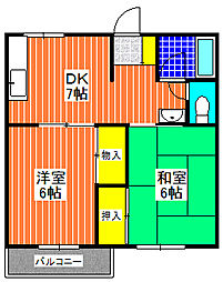 大阪府堺市西区浜寺南町2丁の賃貸アパートの間取り