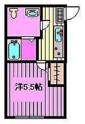 エスポワール芝富士 2階1Kの間取り