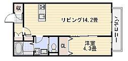 クレスト樹庵[203号室]の間取り