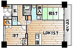ルワージュ八幡駅前I[9階]の間取り