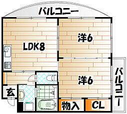 ニシキグレイス浅野[6階]の間取り