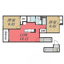 千葉県佐倉市城の賃貸アパートの間取り