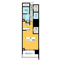 セントラルレジデンス 5階ワンルームの間取り