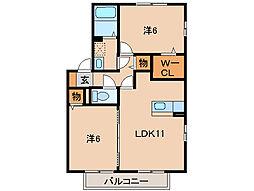 D-room花みずき[2階]の間取り