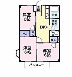 高安グリーンハイツ 2階3DKの間取り
