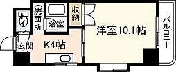 ルミエール牛田本町 6階1Kの間取り