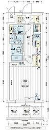 エステムコート難波WEST-SIDEVIグラッド[3階]の間取り