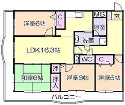ライオンズマンションサンフラワ-[503号室]の間取り
