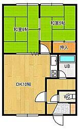 松尾マンション2号棟 1階2DKの間取り
