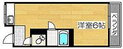 ワンルームマンション愛[1階]の間取り