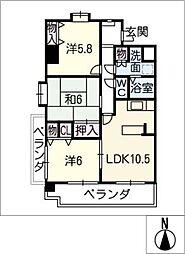 クレストコート[6階]の間取り