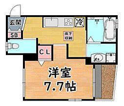 阪急神戸本線 六甲駅 徒歩2分の賃貸アパート 1階1Kの間取り
