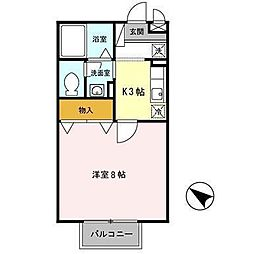 JR山形新幹線 山形駅 バス25分 十中前バス停下車 徒歩4分の賃貸アパート 2階1Kの間取り
