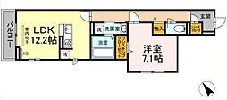 横浜市営地下鉄グリーンライン 中山駅 徒歩9分の賃貸アパート 3階1LDKの間取り