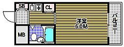 パイン北野田[1階]の間取り