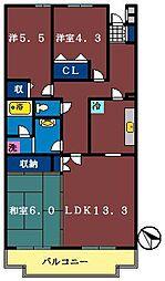 船橋夏見レジデンス[211号室]の間取り