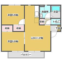 広島県福山市横尾町1丁目の賃貸アパートの間取り