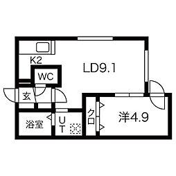 ALPHA南円山 4階1LDKの間取り