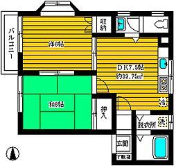 ローライズ駒沢[2階]の間取り