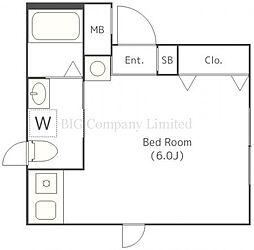 アイオンメグロイースト 4階ワンルームの間取り
