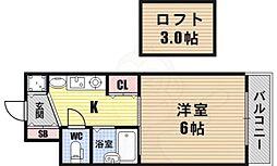 エステムコート難波WEST-SIDE大阪ドーム前 6階1Kの間取り