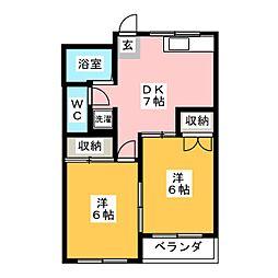 サン大久手B棟[2階]の間取り