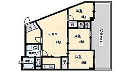 阪急千里線 南千里駅 バス9分 五月が丘下車 徒歩2分の賃貸マンション 3階3LDKの間取り