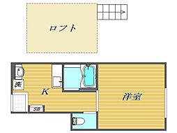 東京都板橋区本町の賃貸アパートの間取り