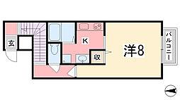 兵庫県姫路市広畑区西夢前台7丁目の賃貸アパートの間取り