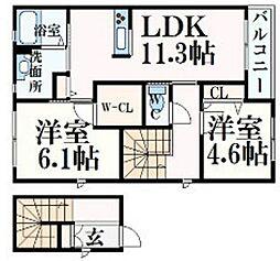JR東海道・山陽本線 摩耶駅 徒歩3分の賃貸マンション 2階2LDKの間取り