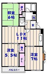 KS・グランメール汐見台[201号室]の間取り